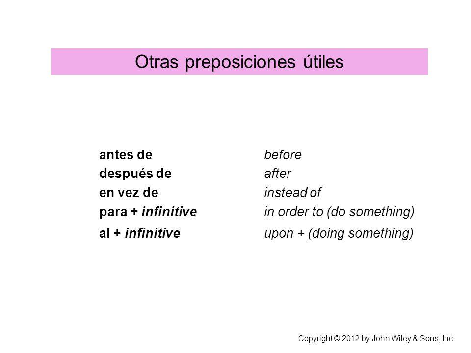 Otras preposiciones útiles