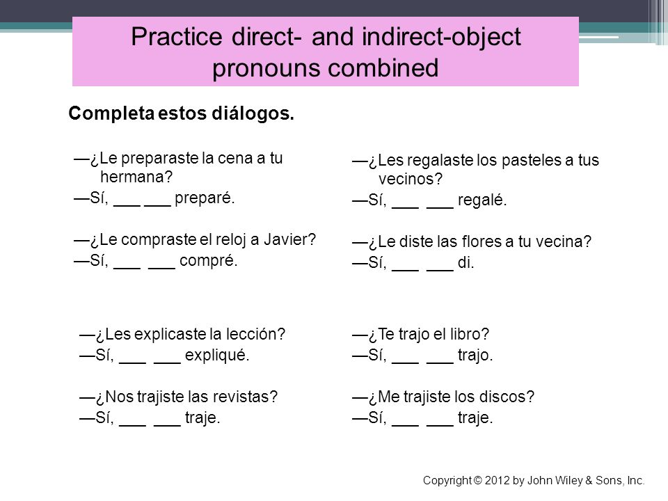 Practice direct- and indirect-object pronouns combined