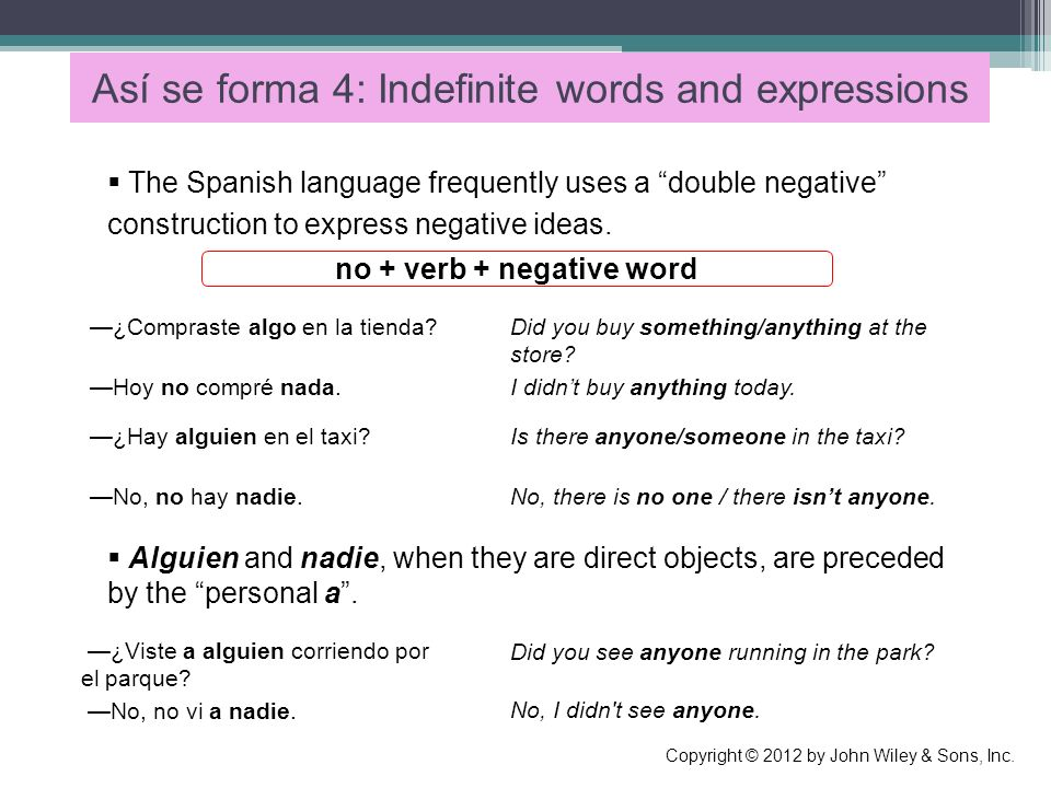 Así se forma 4: Indefinite words and expressions