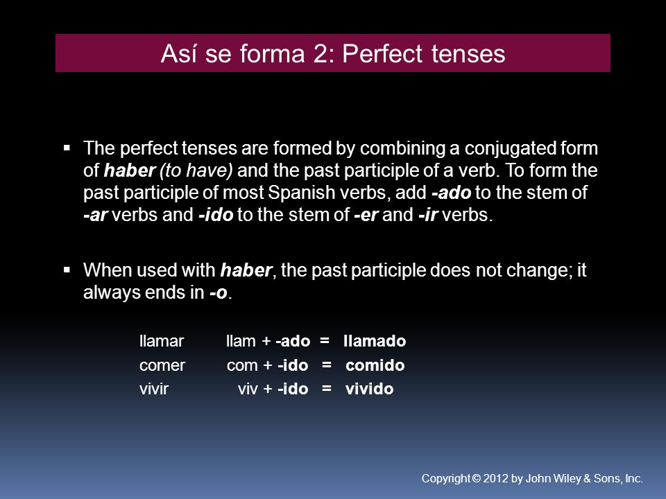 Así se forma 2: Perfect tenses