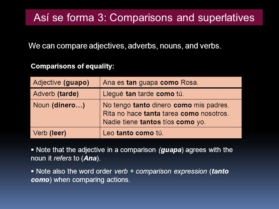 Así se forma 3: Comparisons and superlatives