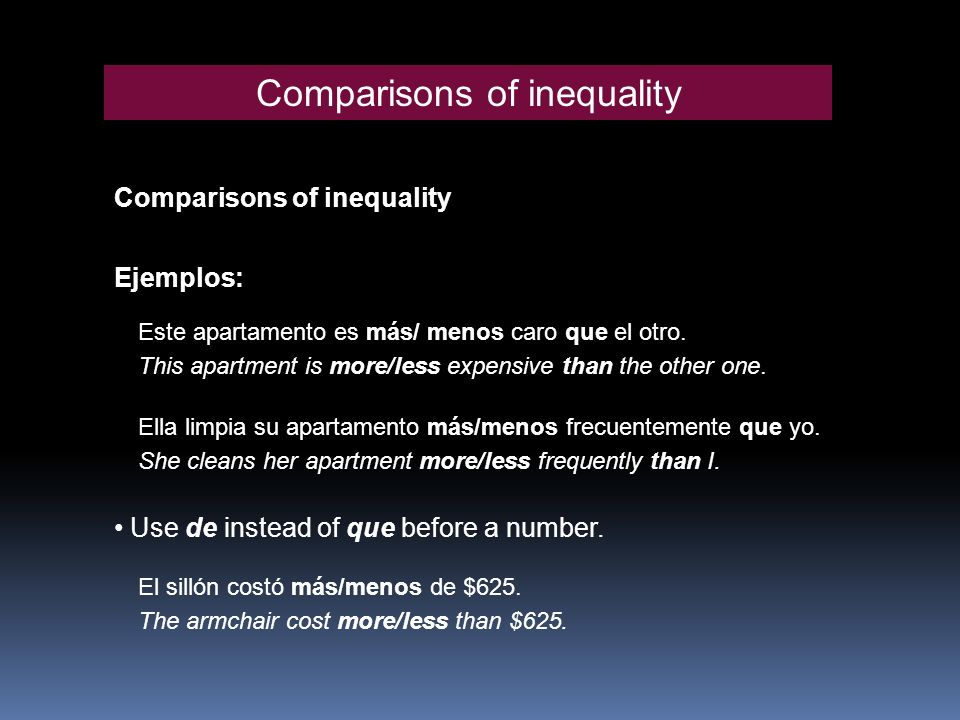 Comparisons of inequality