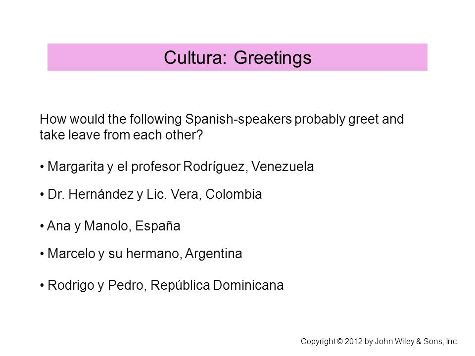 Cultura: Greetings How would the following Spanish-speakers probably greet and take leave from each other