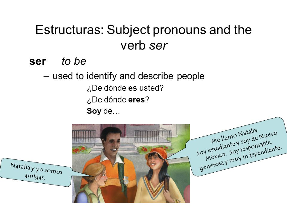 Estructuras: Subject pronouns and the verb ser