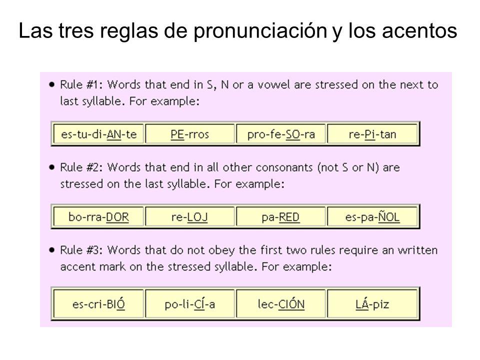 Las tres reglas de pronunciación y los acentos