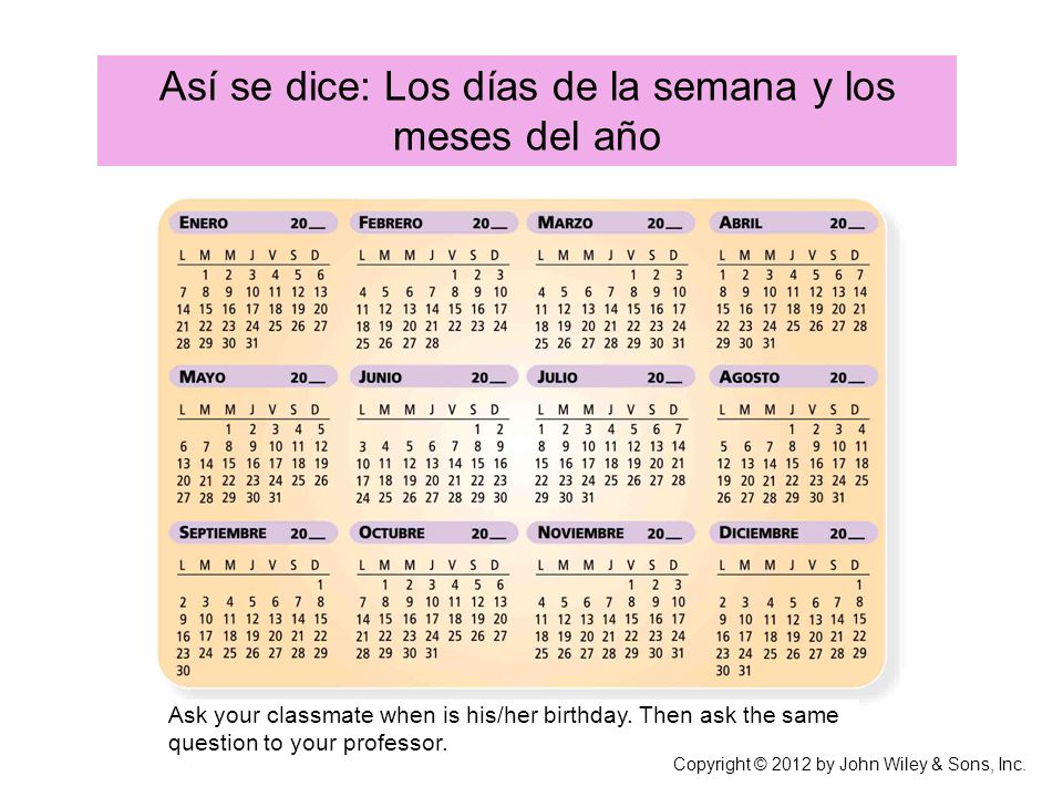 Así se dice: Los días de la semana y los meses del año