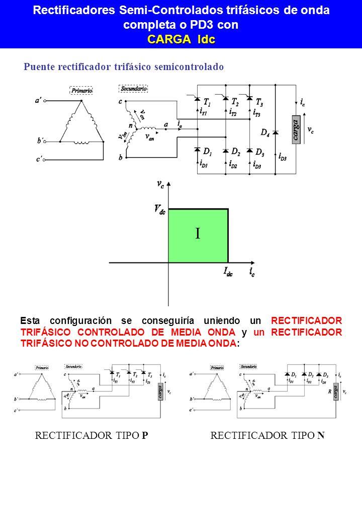 Rectificadores Semi-Controlados trifásicos de onda completa o PD3 con