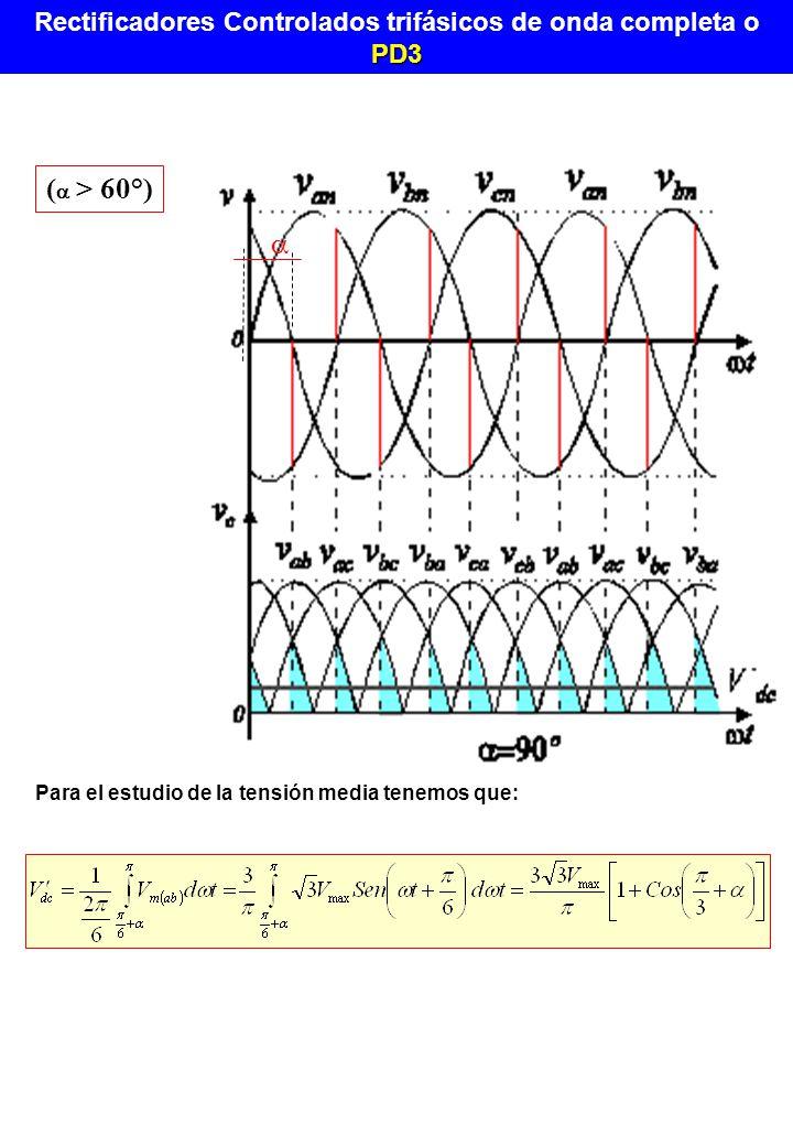 Rectificadores Controlados trifásicos de onda completa o PD3