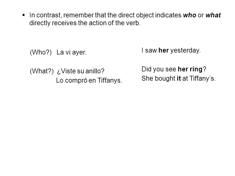 She bought it at Tiffany's. (Who ) La vi ayer.
