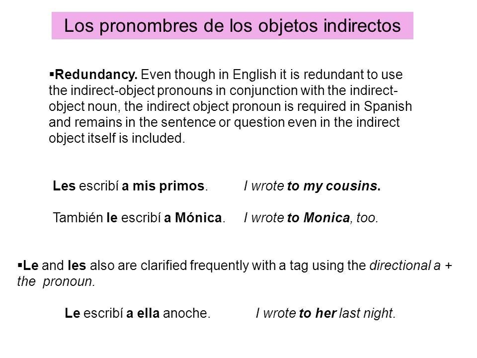 Los pronombres de los objetos indirectos