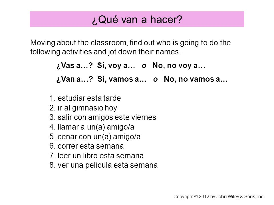 ¿Qué van a hacer Moving about the classroom, find out who is going to do the following activities and jot down their names.