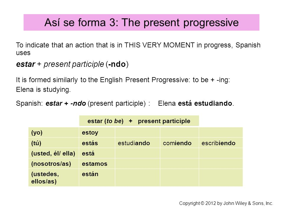 estar (to be) + present participle