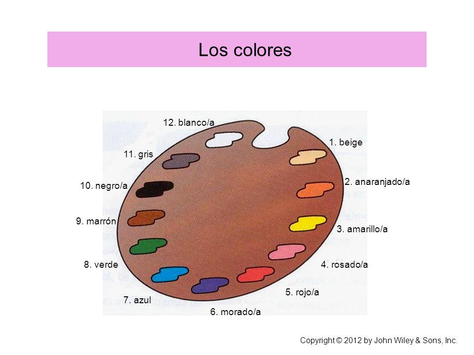 Los colores 12. blanco/a 1. beige 11. gris 2. anaranjado/a 10. negro/a
