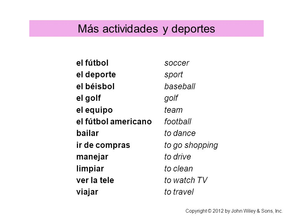 Más actividades y deportes