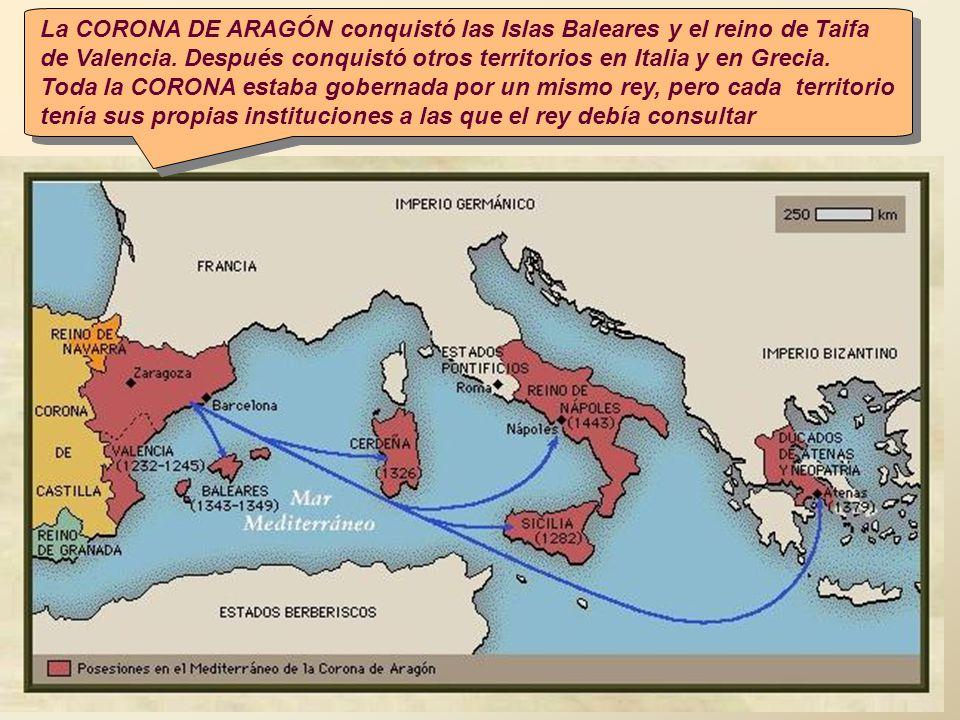 La CORONA DE ARAGÓN conquistó las Islas Baleares y el reino de Taifa de Valencia. Después conquistó otros territorios en Italia y en Grecia.