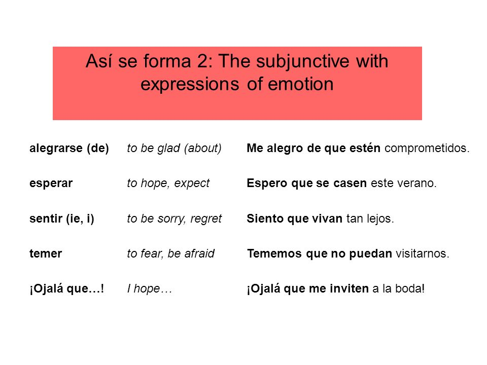 Así se forma 2: The subjunctive with expressions of emotion
