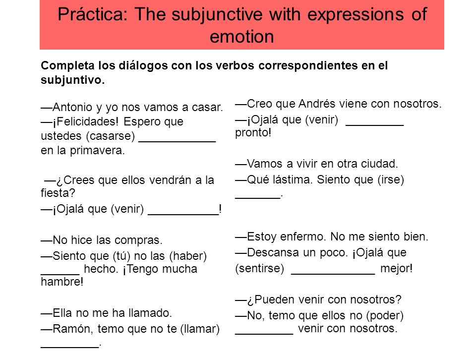 Práctica: The subjunctive with expressions of emotion