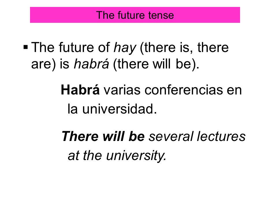 The future of hay (there is, there are) is habrá (there will be).