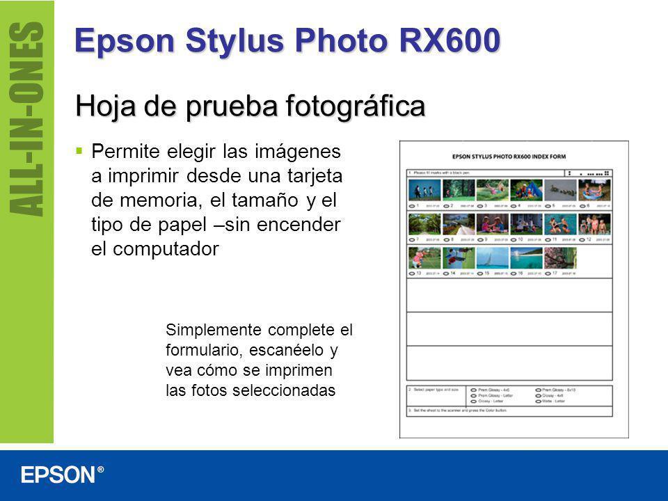 Epson Stylus Photo RX600 Hoja de prueba fotográfica