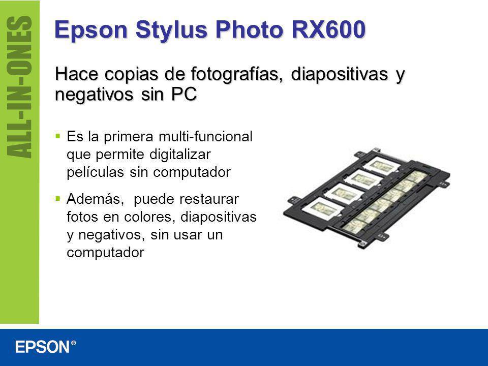 Epson Stylus Photo RX600 Hace copias de fotografías, diapositivas y negativos sin PC.