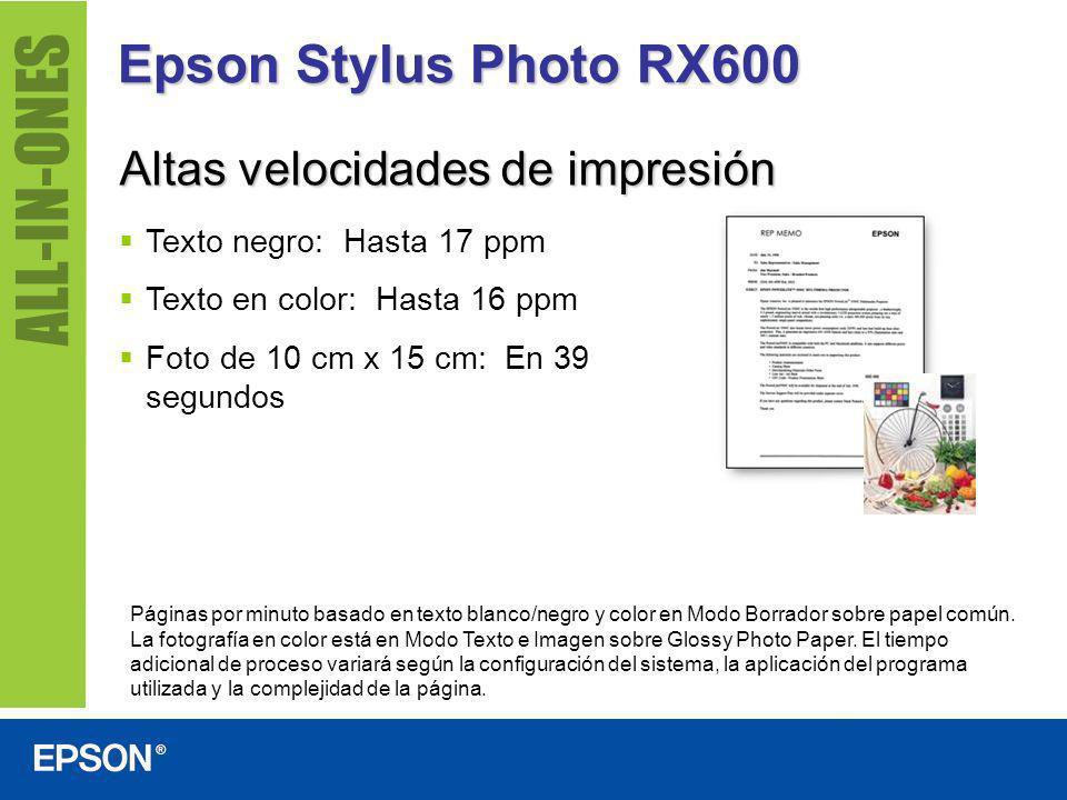 Epson Stylus Photo RX600 Altas velocidades de impresión