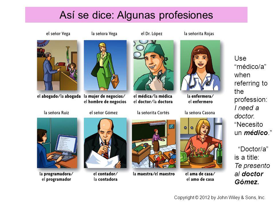 Así se dice: Algunas profesiones