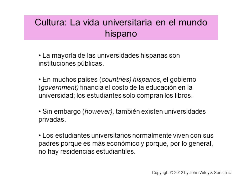 Cultura: La vida universitaria en el mundo hispano