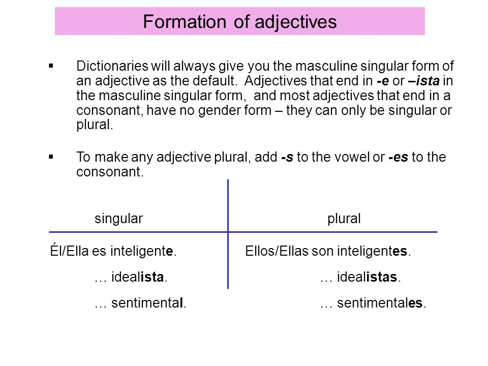 Formation of adjectives