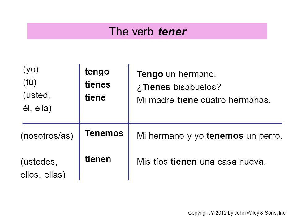The verb tener (yo) (tú) (usted, él, ella) tengo tienes tiene