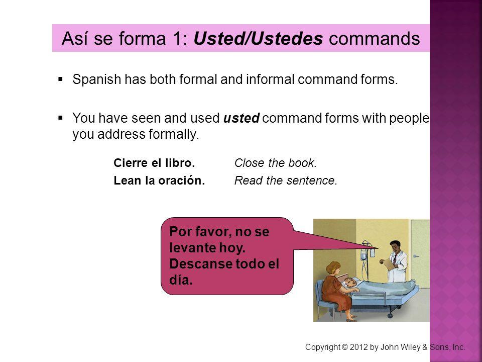 Así se forma 1: Usted/Ustedes commands
