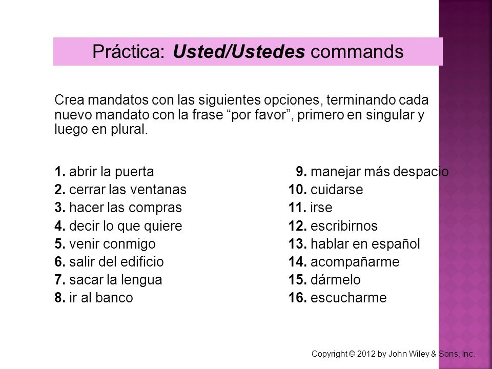 Práctica: Usted/Ustedes commands