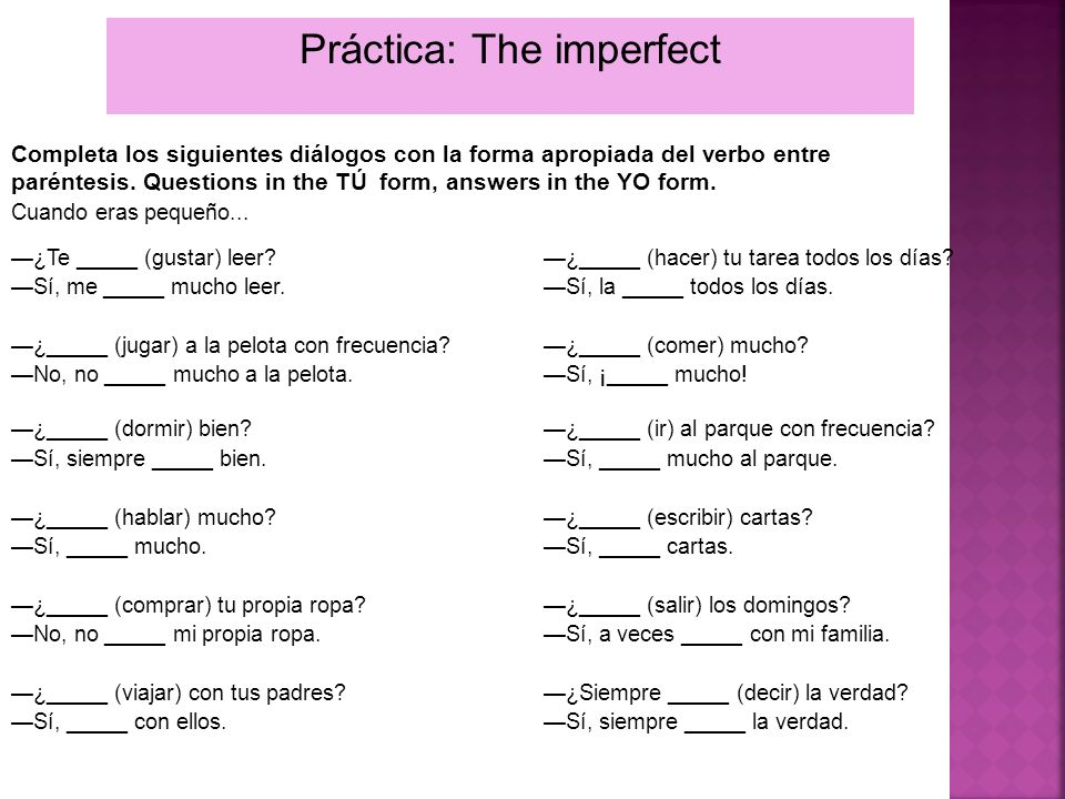 Práctica: The imperfect