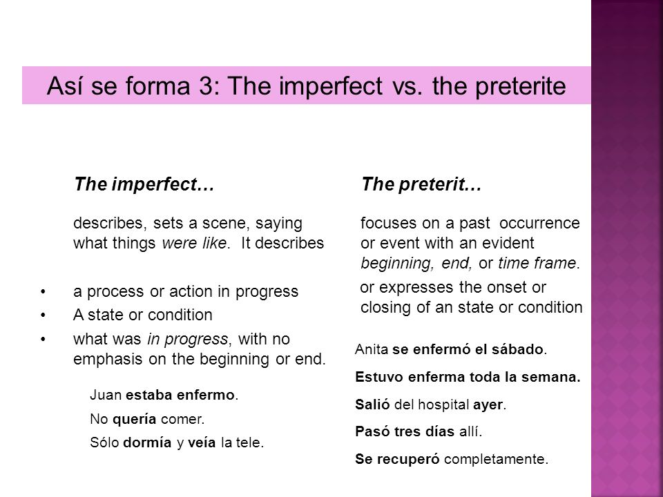 Así se forma 3: The imperfect vs. the preterite