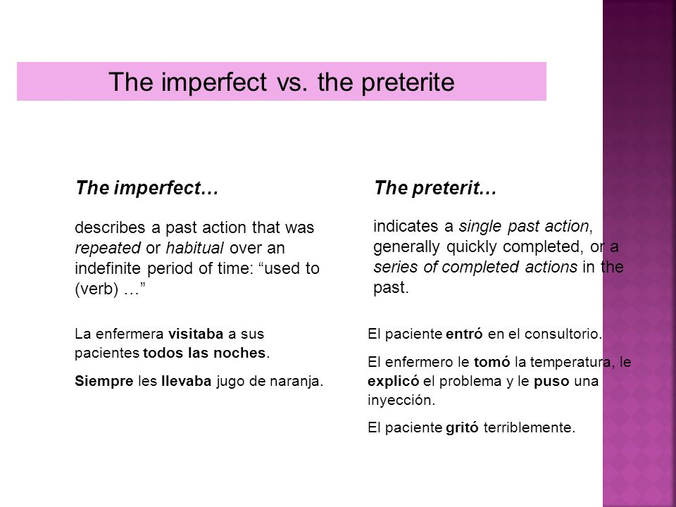 The imperfect vs. the preterite