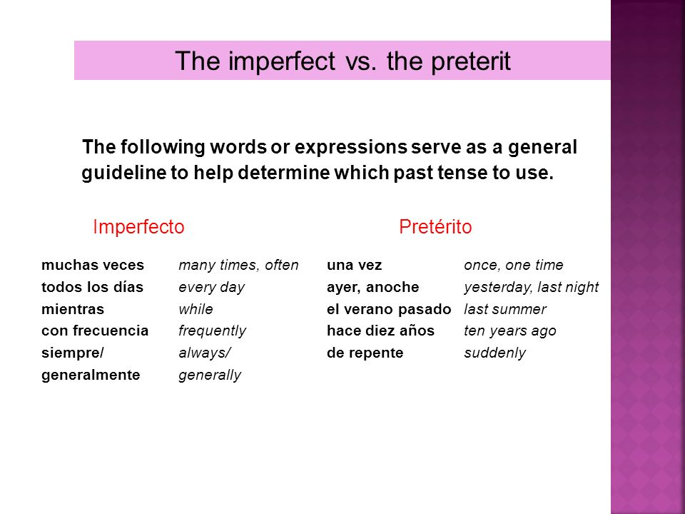 The imperfect vs. the preterit