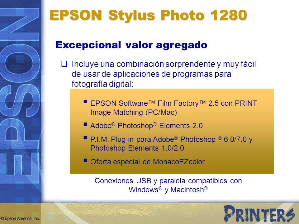 Conexiones USB y paralela compatibles con Windows® y Macintosh®