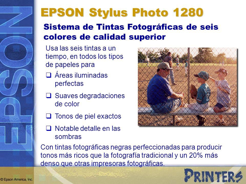 EPSON Stylus Photo 1280 Sistema de Tintas Fotográficas de seis colores de calidad superior.