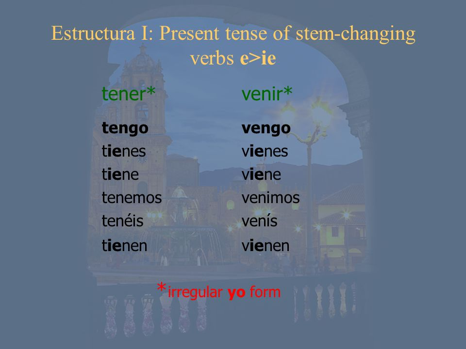 Estructura I: Present tense of stem-changing verbs e>ie