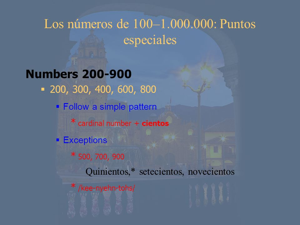 Los números de 100–1.000.000: Puntos especiales