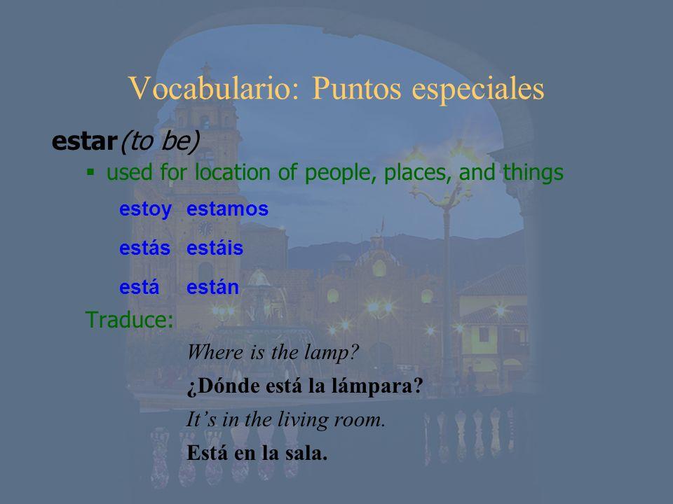 Vocabulario: Puntos especiales