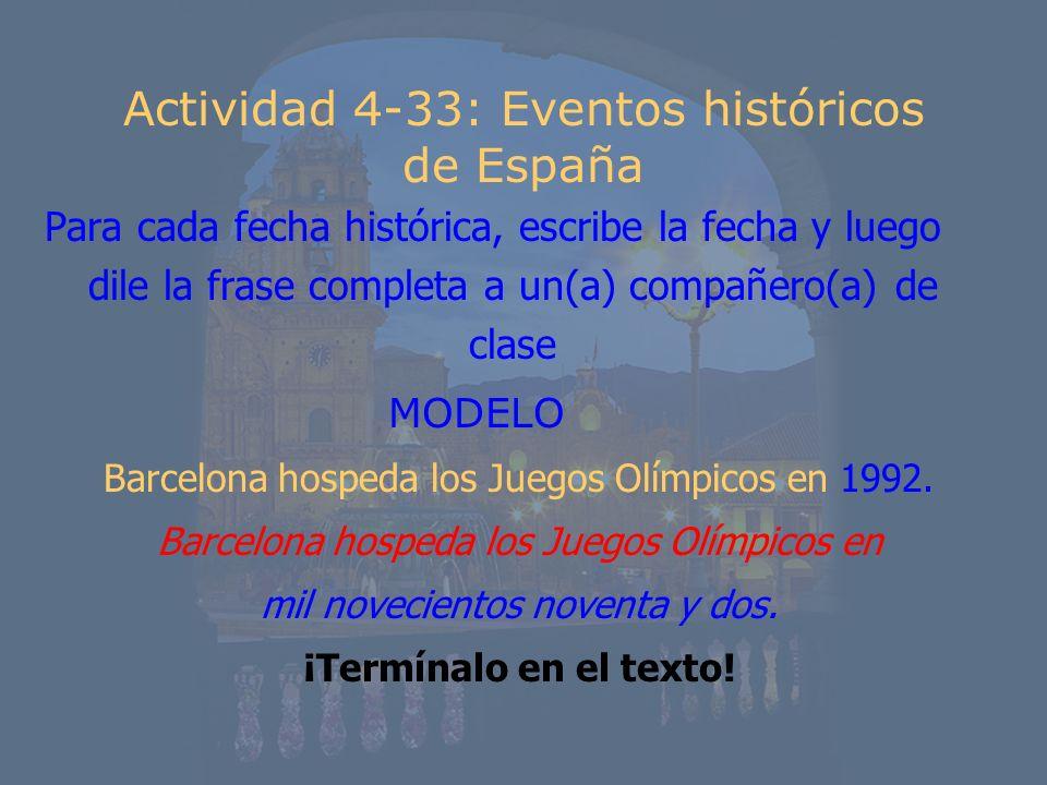 Actividad 4-33: Eventos históricos de España
