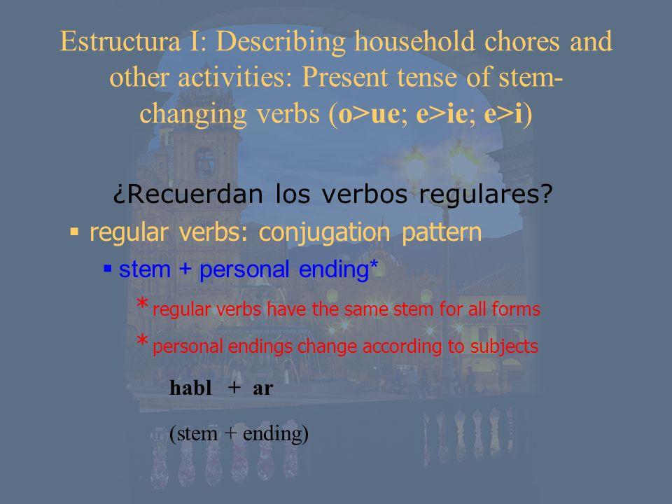 ¿Recuerdan los verbos regulares