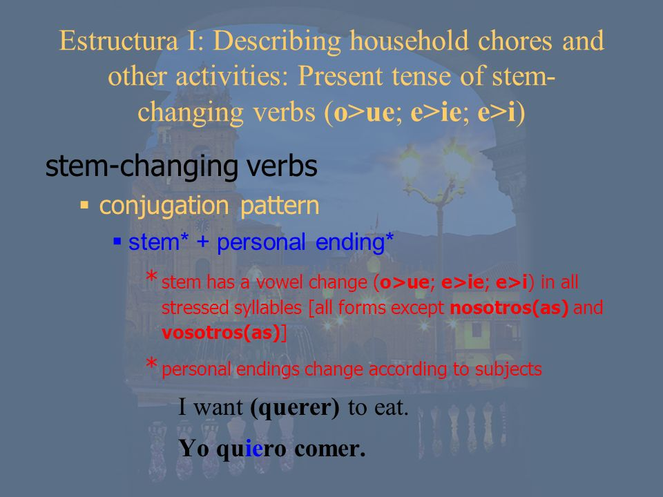 Estructura I: Describing household chores and other activities: Present tense of stem-changing verbs (o>ue; e>ie; e>i)
