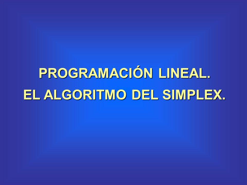 PROGRAMACIÓN LINEAL. EL ALGORITMO DEL SIMPLEX.