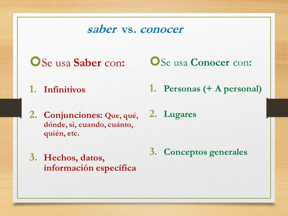 saber vs. conocer Se usa Saber con: Se usa Conocer con: Infinitivos