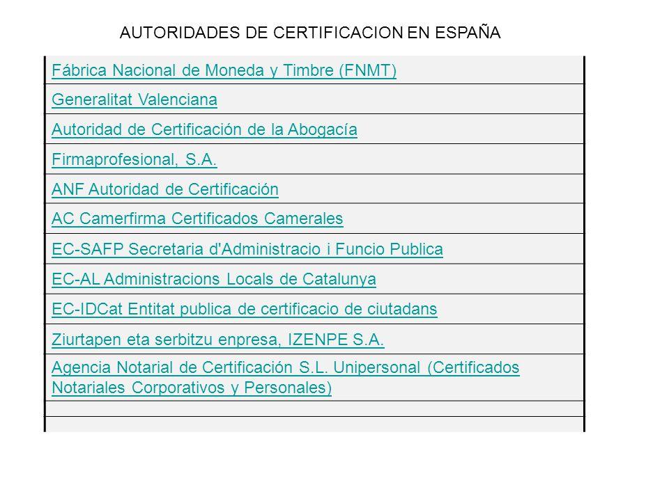AUTORIDADES DE CERTIFICACION EN ESPAÑA