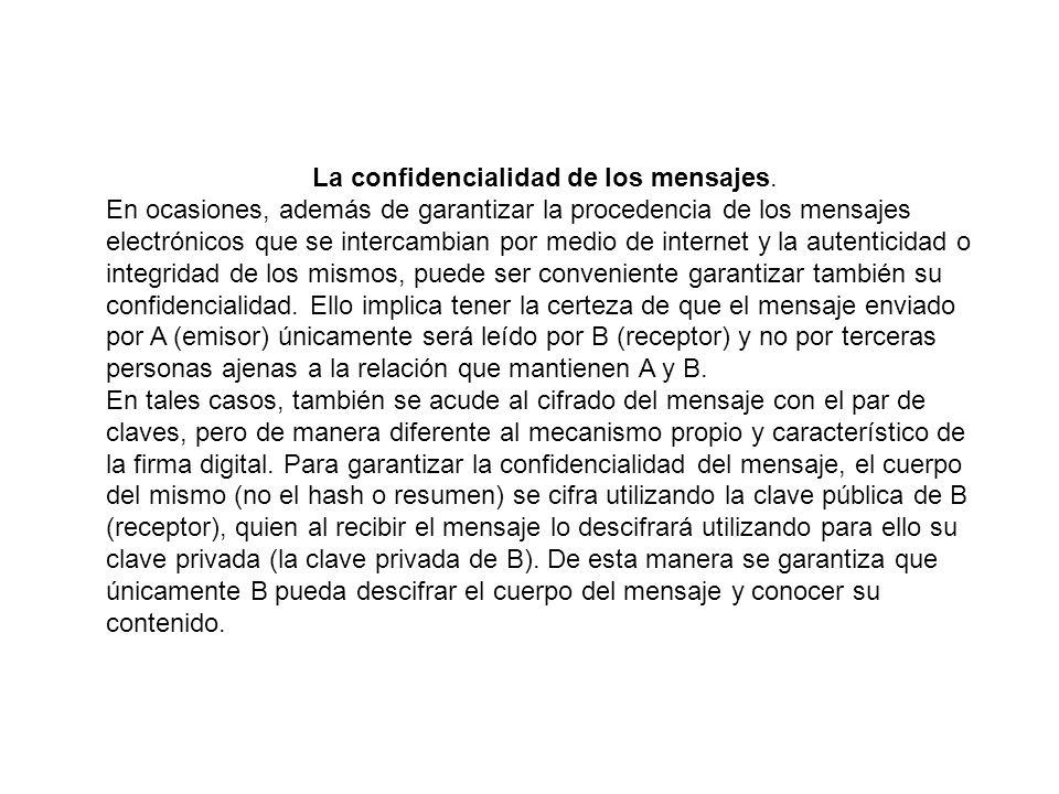 La confidencialidad de los mensajes.