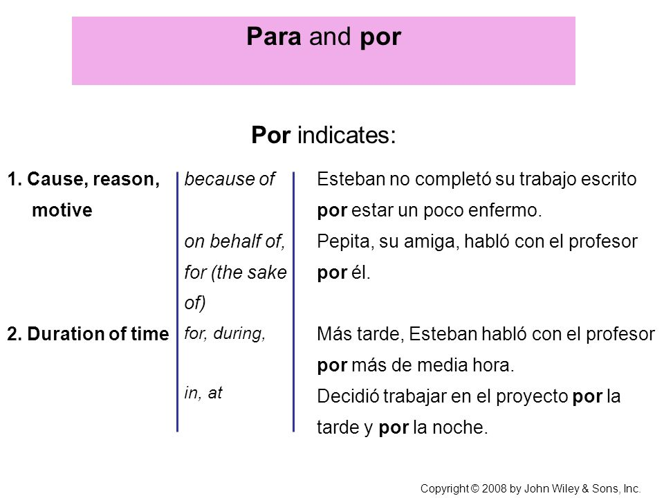 Para and por Por indicates: 1. Cause, reason, motive