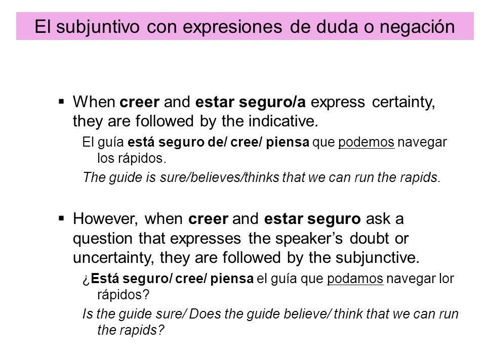 El subjuntivo con expresiones de duda o negación