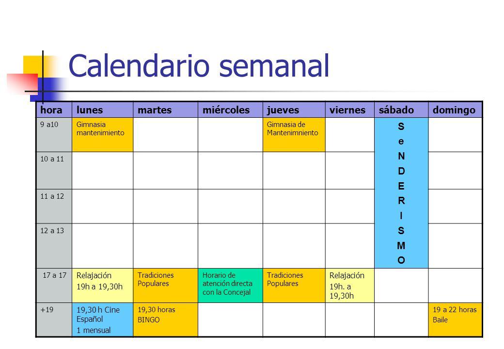 Calendario semanal S e N D E R I M O hora lunes martes miércoles